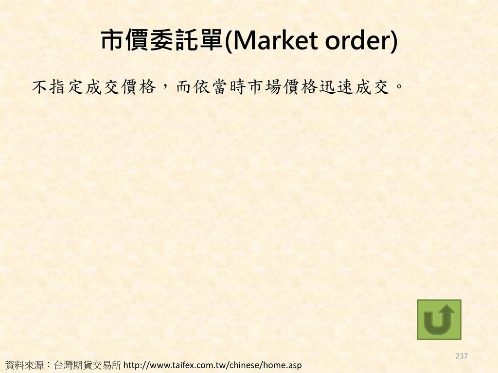 市價委託單(Market order) 不指定成交價格,而依當時市場價格迅速成交。