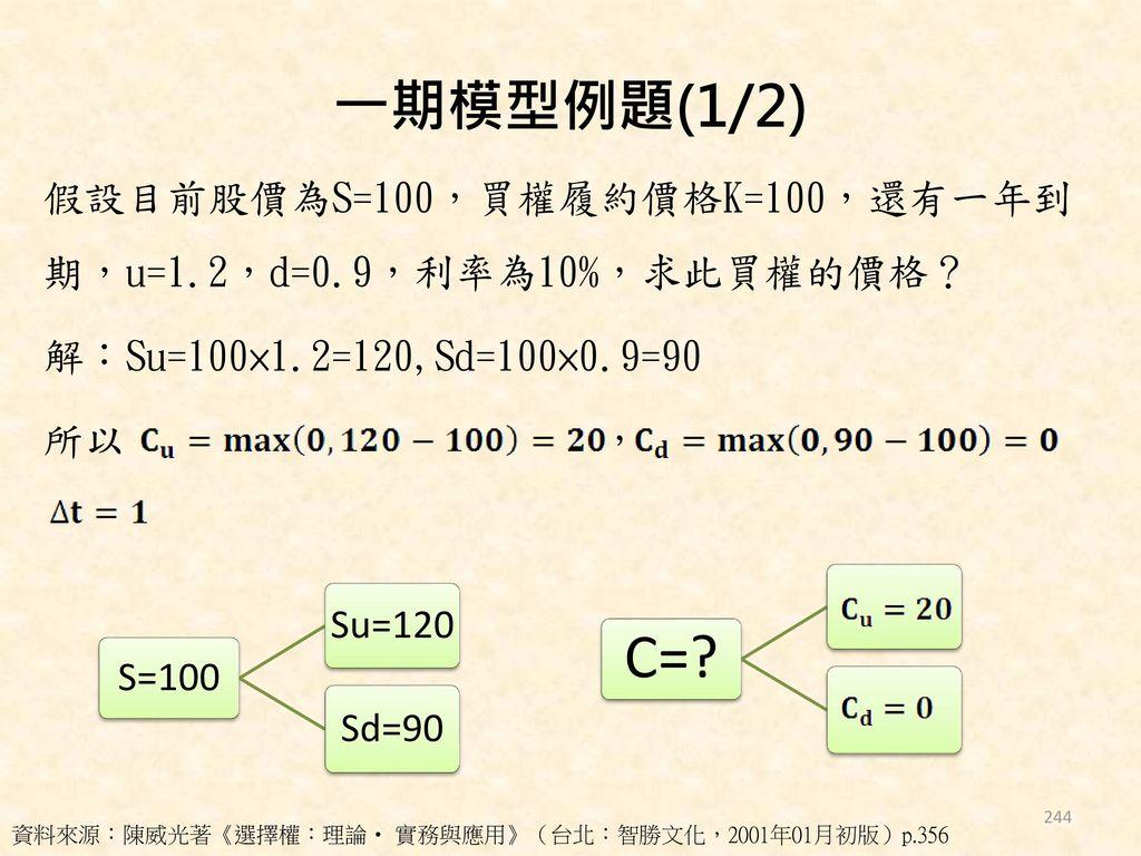 一期模型例題(1/2) 假設目前股價為S=100,買權履約價格K=100,還有一年到期,u=1.2,d=0.9,利率為10%,求此買權的價格? 解:Su=100×1.2=120,Sd=100×0.9=90 所以 ,