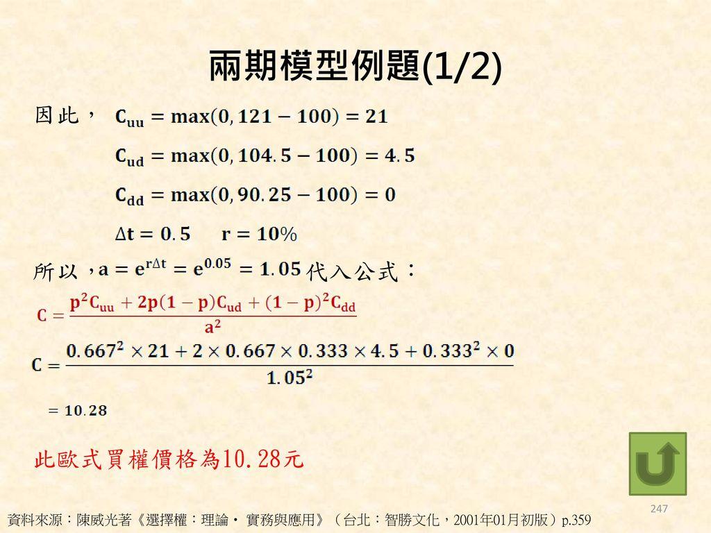 兩期模型例題(1/2) 因此, 所以, 代入公式: 此歐式買權價格為10.28元