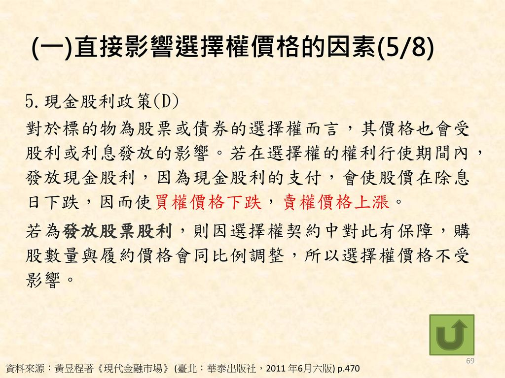 (一)直接影響選擇權價格的因素(5/8)