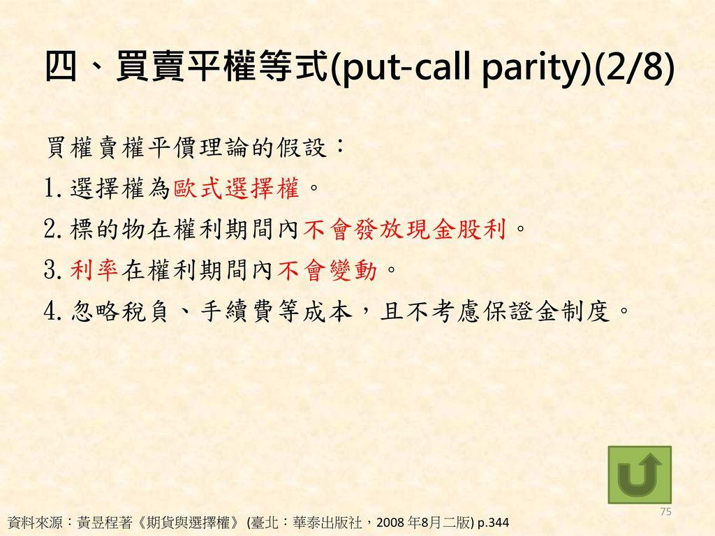 四、買賣平權等式(put-call parity)(2/8)