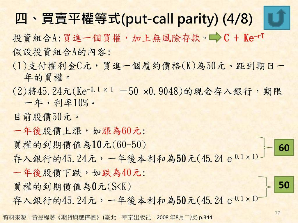四、買賣平權等式(put-call parity) (4/8)