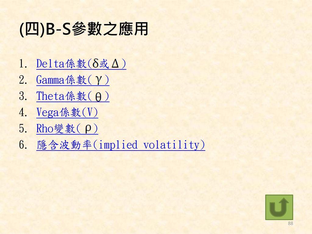 (四)B-S參數之應用 Delta係數( 或 ) Gamma係數( ) Theta係數( ) Vega係數(V) Rho變數( )