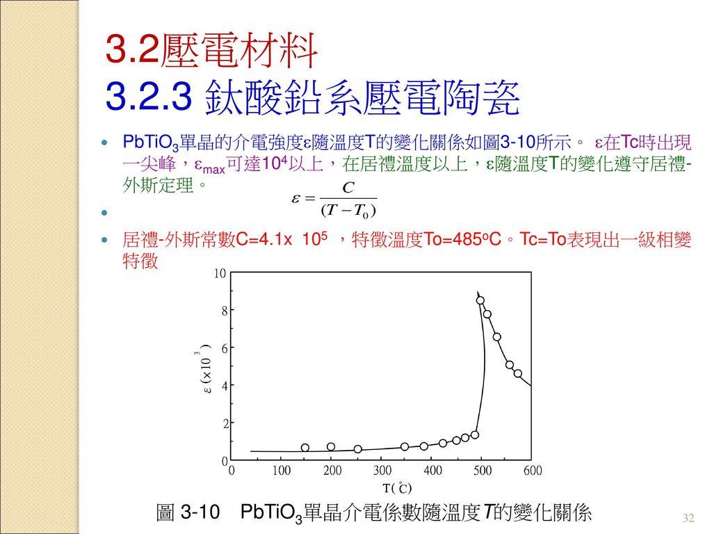 圖 3-10 PbTiO3單晶介電係數隨溫度T的變化關係
