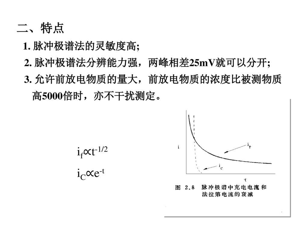 二、特点 if∝t-1/2 iC∝e-t 2. 脉冲极谱法分辨能力强,两峰相差25mV就可以分开;