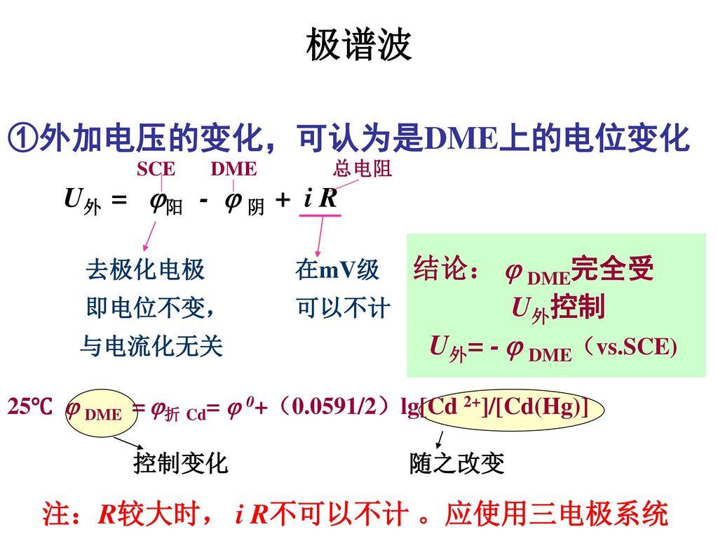 ①外加电压的变化,可认为是DME上的电位变化