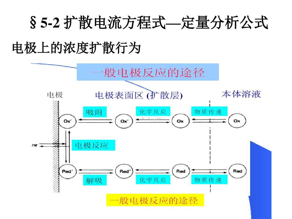 §5-2 扩散电流方程式—定量分析公式 电极上的浓度扩散行为