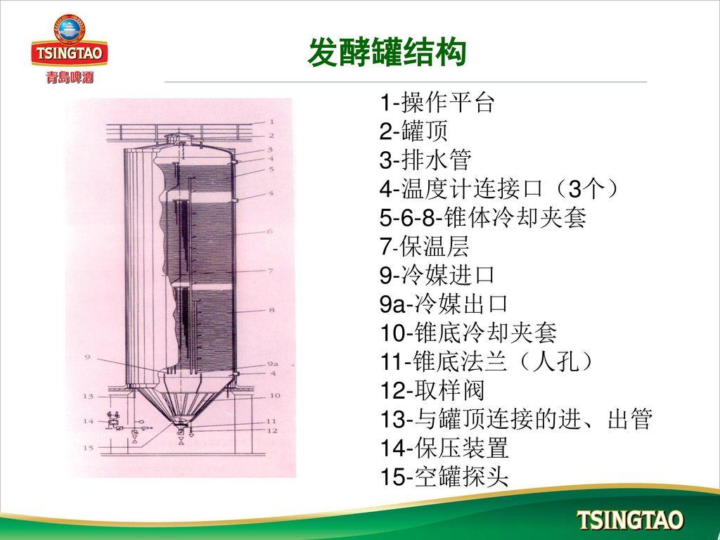 发酵罐结构 1-操作平台 2-罐顶 3-排水管 4-温度计连接口(3个) 5-6-8-锥体冷却夹套 7-保温层 9-冷媒进口 9a-冷媒出口