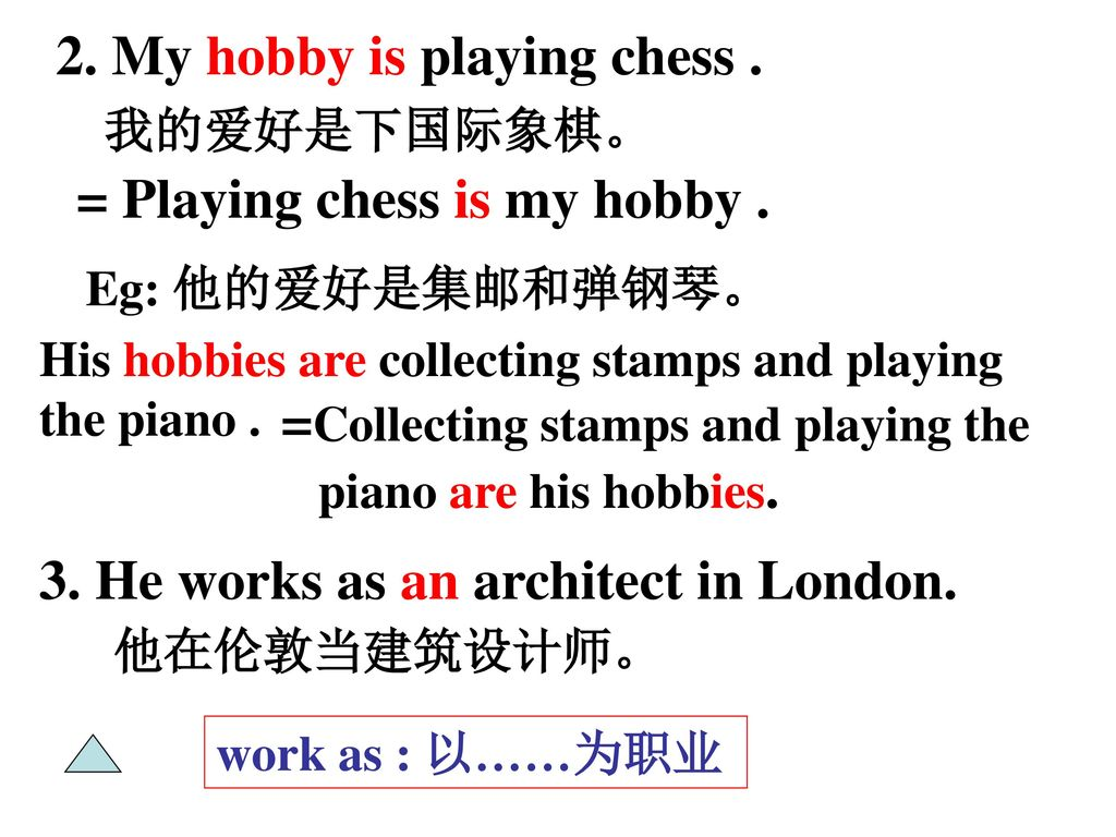 2. My hobby is playing chess .