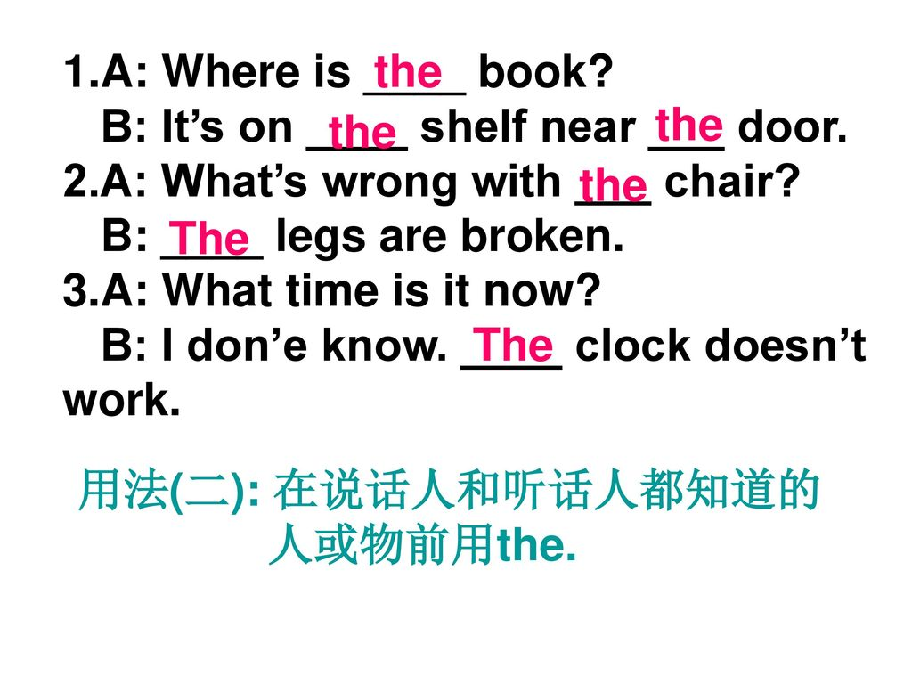 A: Where is ____ book B: It's on ____ shelf near ___ door. 2.A: What's wrong with ___ chair B: ____ legs are broken.
