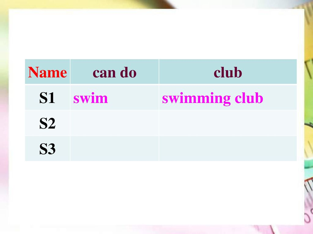 Name can do club S1 swim swimming club S2 S3
