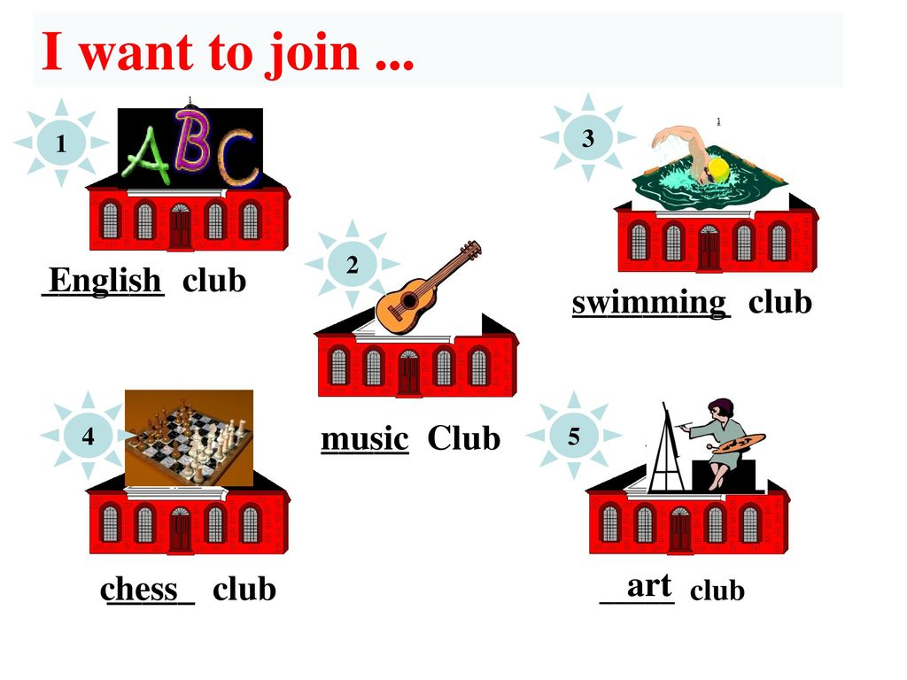 I want to join ... _______ club English _________ club swimming music