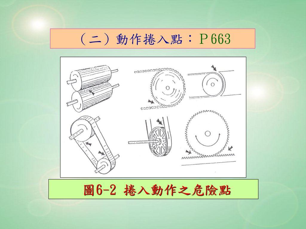 (二)動作捲入點:P663 圖6-2 捲入動作之危險點