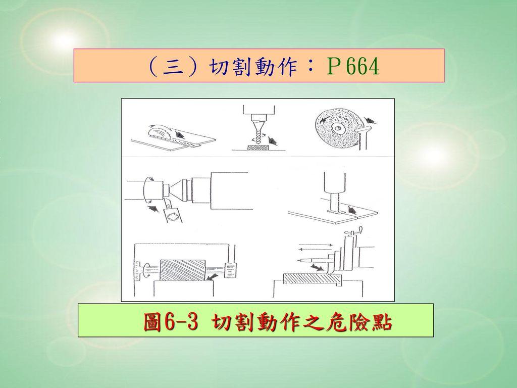 (三)切割動作:P664 圖6-3 切割動作之危險點