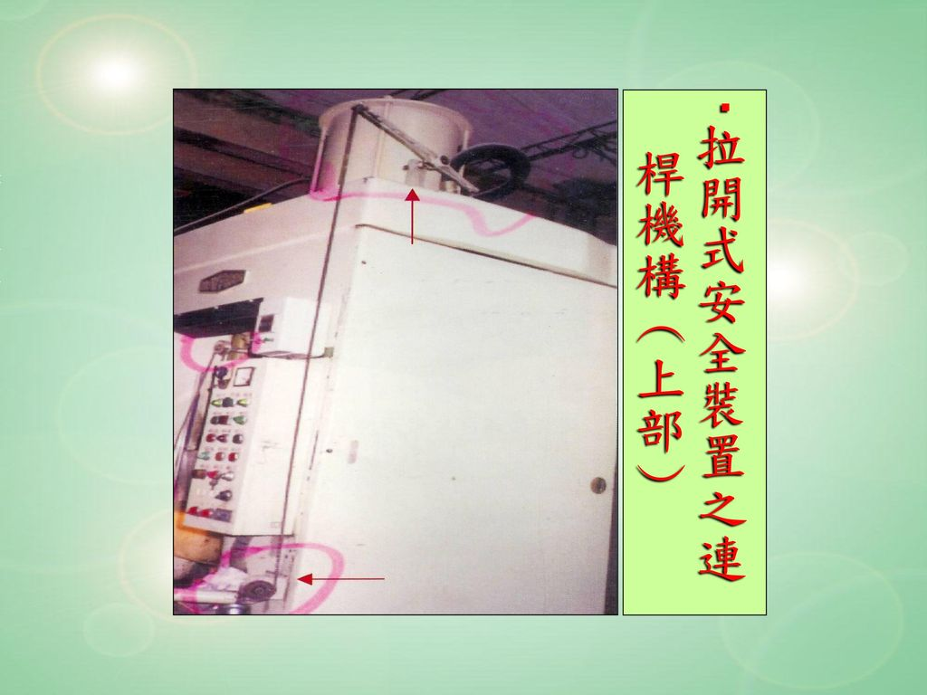 ‧拉開式安全裝置之連 桿機構(上部)