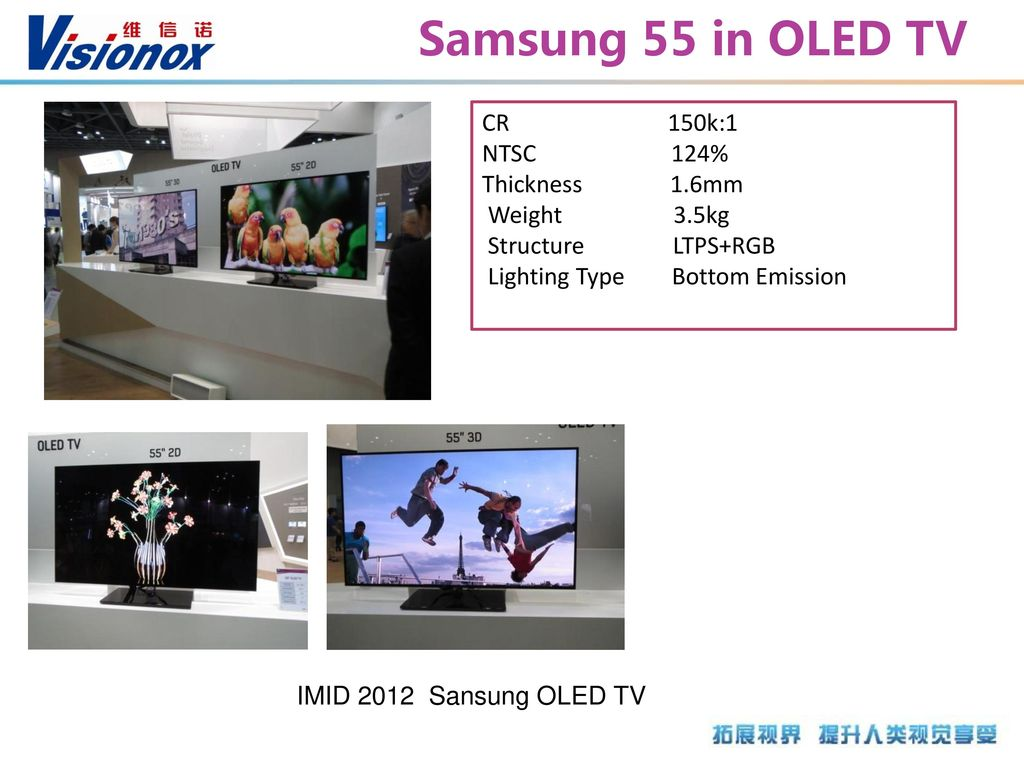 Samsung 55 in OLED TV CR 150k:1 NTSC 124% Thickness 1.6mm Weight 3.5kg