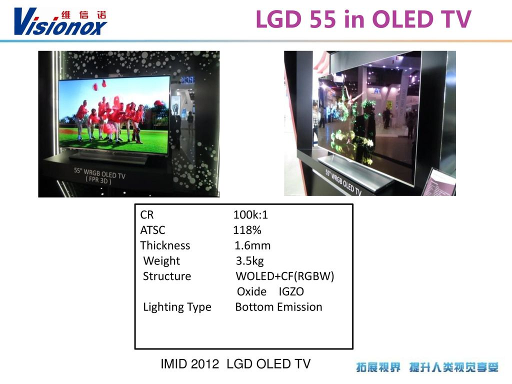 LGD 55 in OLED TV CR 100k:1 ATSC 118% Thickness 1.6mm Weight 3.5kg
