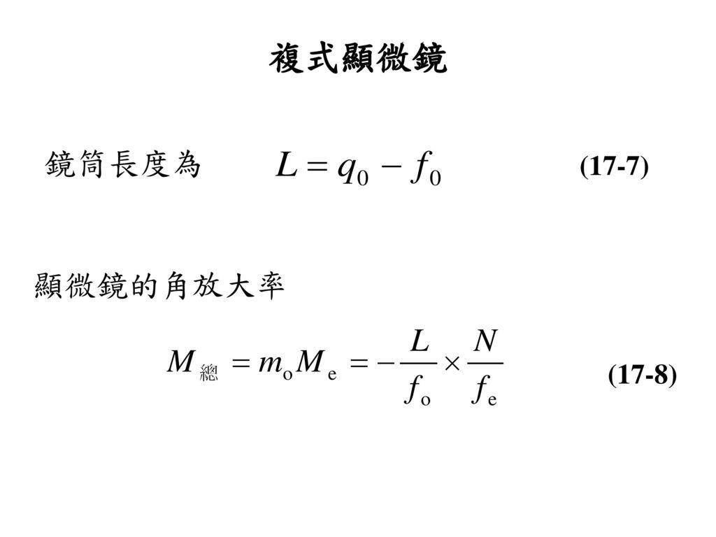複式顯微鏡 鏡筒長度為 (17-7) 顯微鏡的角放大率 (17-8)