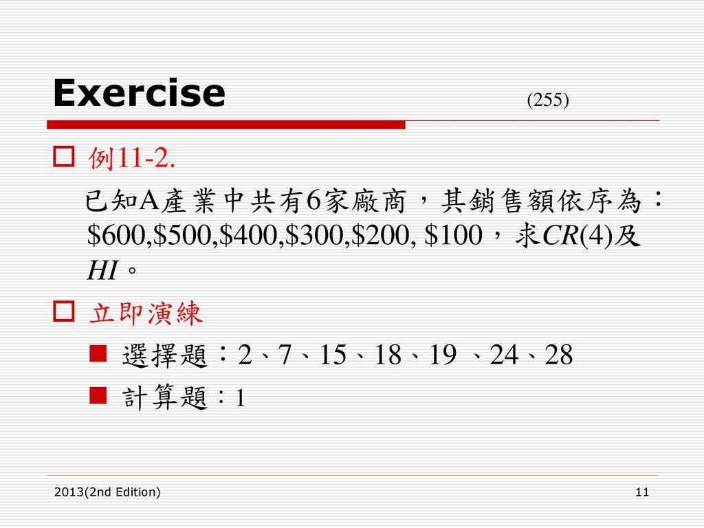 Exercise (255) 例11-2. 已知A產業中共有6家廠商,其銷售額依序為:$600,$500,$400,$300,$200, $100,求CR(4)及HI。