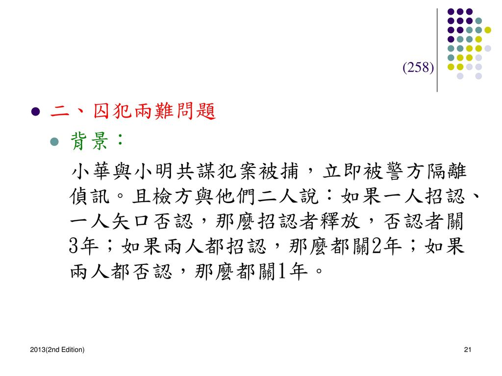 (258) 二、囚犯兩難問題. 背景: 小華與小明共謀犯案被捕,立即被警方隔離偵訊。且檢方與他們二人說:如果一人招認、一人矢口否認,那麼招認者釋放,否認者關3年;如果兩人都招認,那麼都關2年;如果兩人都否認,那麼都關1年。