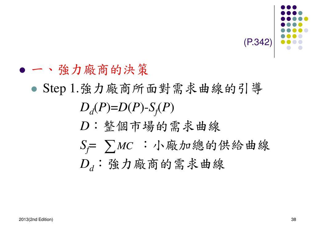 一、強力廠商的決策 Step 1.強力廠商所面對需求曲線的引導 Dd(P)=D(P)-Sf(P) D:整個市場的需求曲線