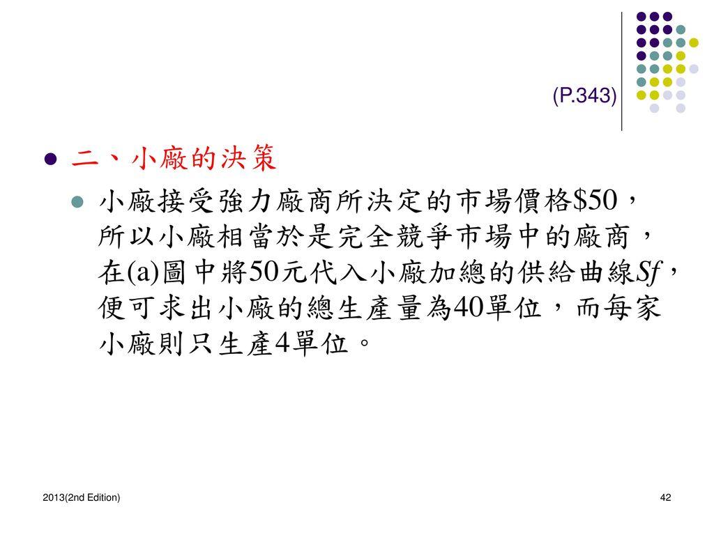 (P.343) 二、小廠的決策. 小廠接受強力廠商所決定的市場價格$50,所以小廠相當於是完全競爭市場中的廠商,在(a)圖中將50元代入小廠加總的供給曲線Sf,便可求出小廠的總生產量為40單位,而每家小廠則只生產4單位。