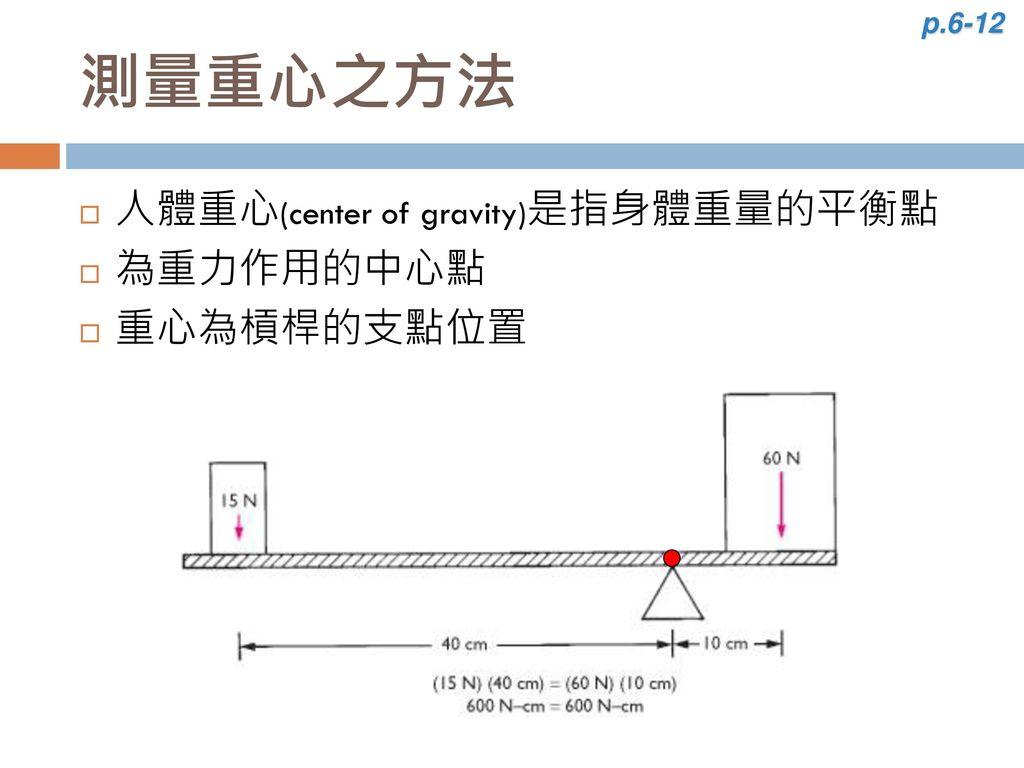 p.6-12 測量重心之方法 人體重心(center of gravity)是指身體重量的平衡點 為重力作用的中心點 重心為槓桿的支點位置