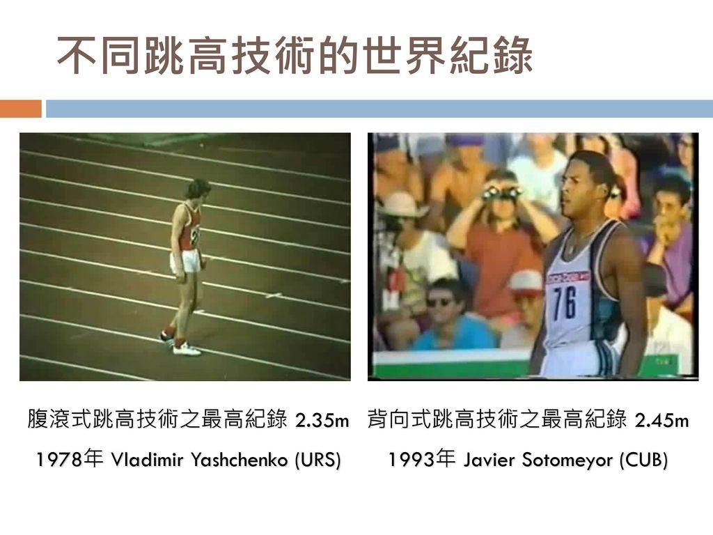 不同跳高技術的世界紀錄 腹滾式跳高技術之最高紀錄 2.35m 1978年 Vladimir Yashchenko (URS)