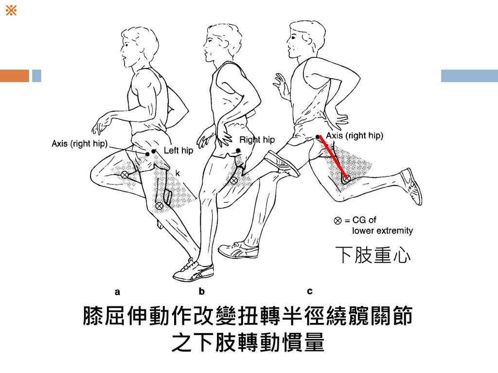 膝屈伸動作改變扭轉半徑繞髖關節之下肢轉動慣量