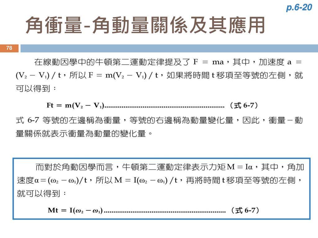 p.6-20 角衝量-角動量關係及其應用