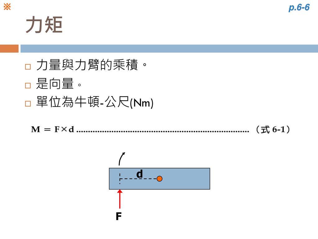 ※ p.6-6 力矩 力量與力臂的乘積。 是向量。 單位為牛頓-公尺(Nm) d F