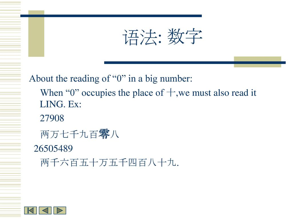 语法: 数字 About the reading of 0 in a big number: