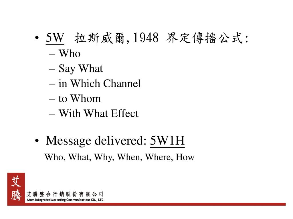 5W 拉斯威爾,1948 界定傳播公式: Message delivered: 5W1H Who Say What