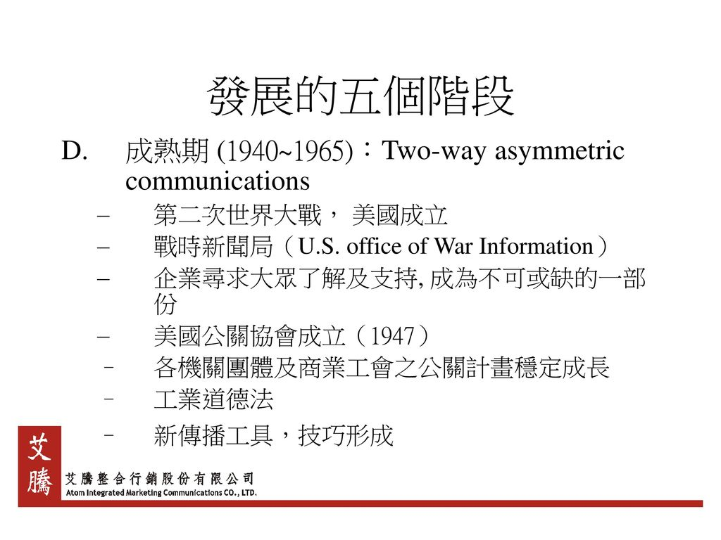發展的五個階段 成熟期 (1940~1965):Two-way asymmetric communications