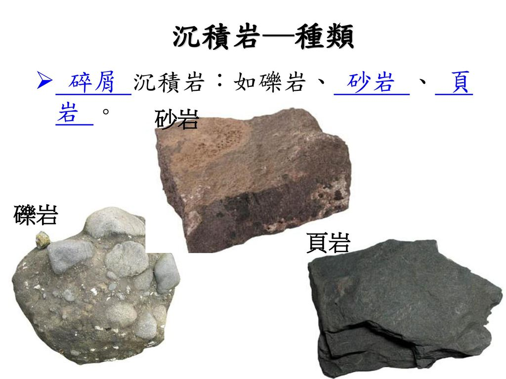 沉積岩─種類 碎屑 沉積岩:如礫岩、 砂岩 、 頁岩 。 砂岩 礫岩 頁岩