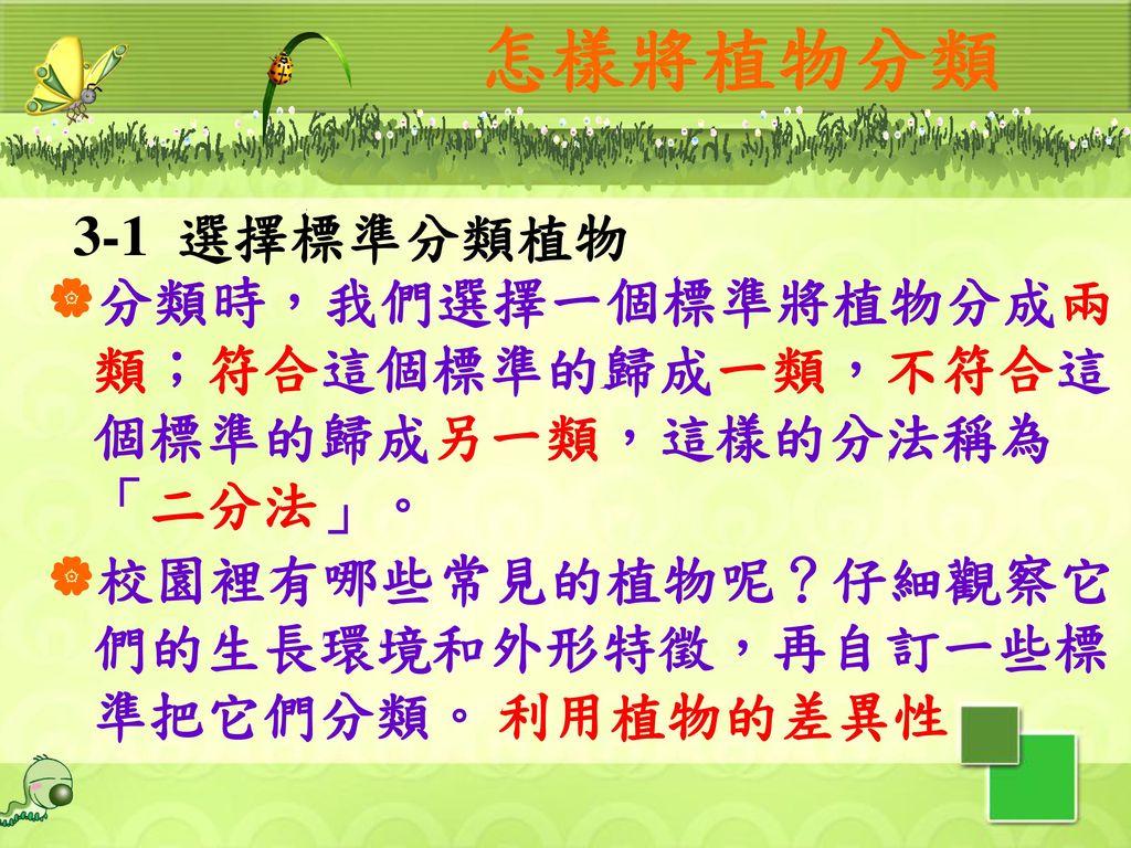 怎樣將植物分類 3-1 選擇標準分類植物. 分類時,我們選擇一個標準將植物分成兩類;符合這個標準的歸成一類,不符合這個標準的歸成另一類,這樣的分法稱為「二分法」。 校園裡有哪些常見的植物呢?仔細觀察它們的生長環境和外形特徵,再自訂一些標準把它們分類。