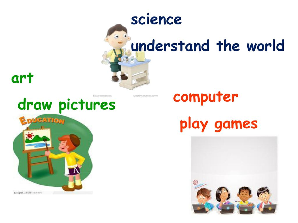 science understand the world art draw pictures computer play games