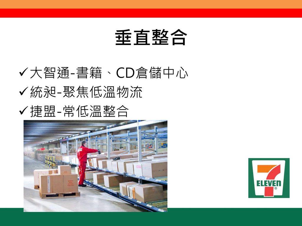 垂直整合 大智通-書籍、CD倉儲中心 統昶-聚焦低溫物流 捷盟-常低溫整合