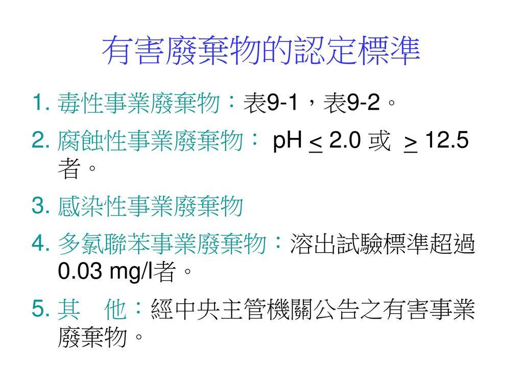 有害廢棄物的認定標準 1. 毒性事業廢棄物:表9-1,表9-2。