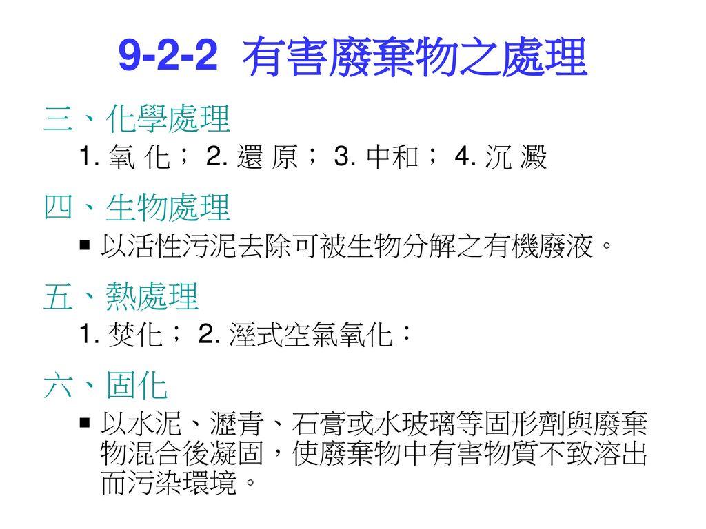 9-2-2 有害廢棄物之處理 三、化學處理 四、生物處理 五、熱處理 六、固化 1. 氧 化; 2. 還 原; 3. 中和; 4. 沉 澱