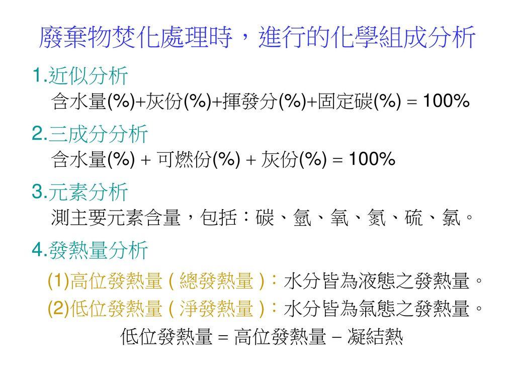 廢棄物焚化處理時,進行的化學組成分析 1.近似分析 含水量(%)灰份(%)揮發分(%)固定碳(%)  100%