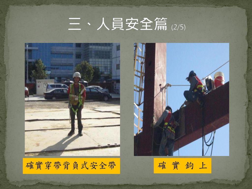 三、人員安全篇 (2/5) 確實穿帶背負式安全帶 確 實 鉤 上