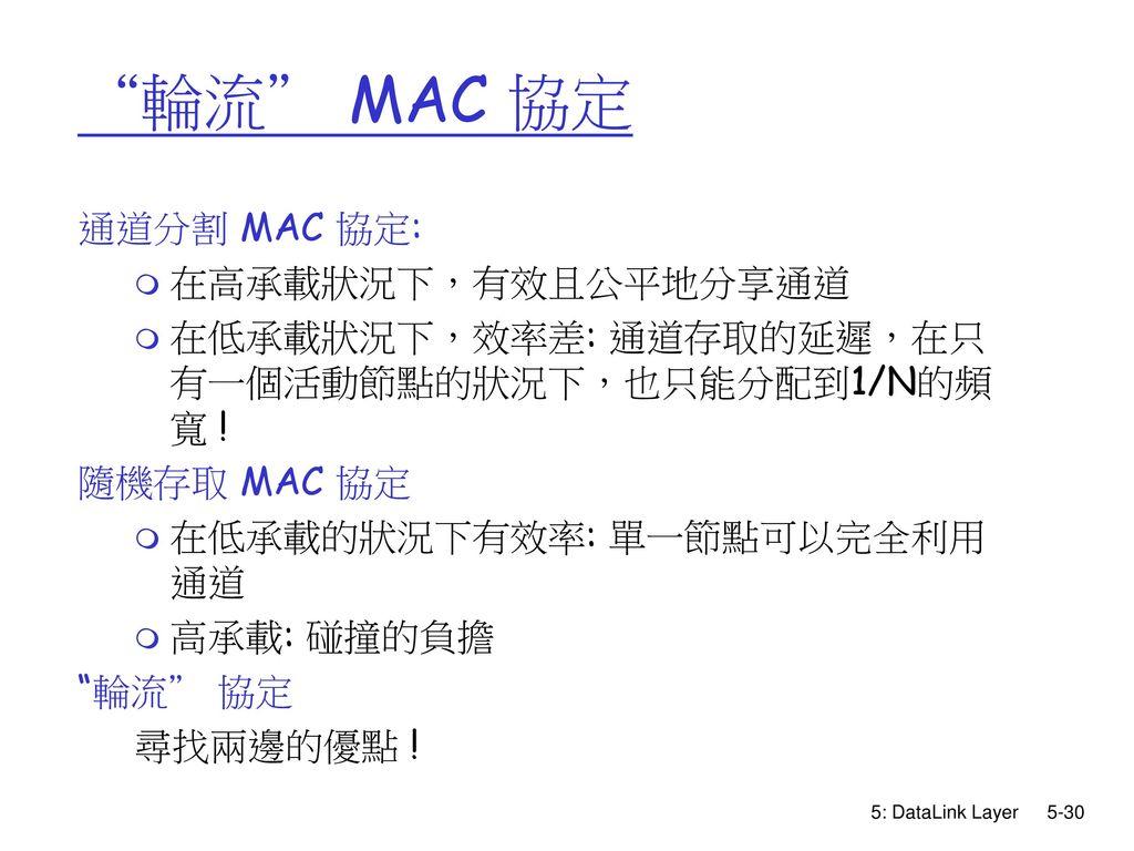 輪流 MAC 協定 通道分割 MAC 協定: 在高承載狀況下,有效且公平地分享通道