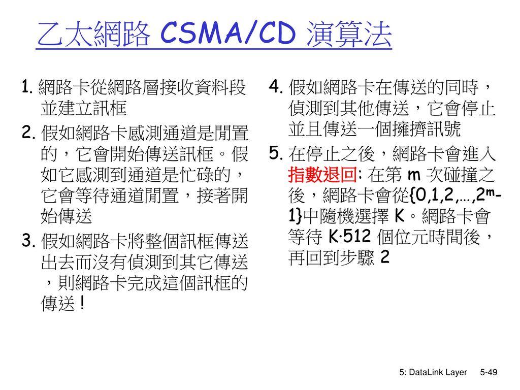 乙太網路 CSMA/CD 演算法 1. 網路卡從網路層接收資料段並建立訊框
