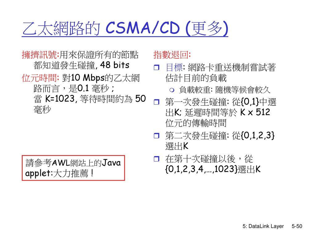 乙太網路的 CSMA/CD (更多) 擁擠訊號:用來保證所有的節點都知道發生碰撞, 48 bits