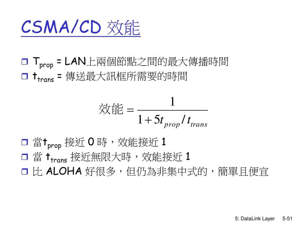 CSMA/CD 效能 Tprop = LAN上兩個節點之間的最大傳播時間 ttrans = 傳送最大訊框所需要的時間