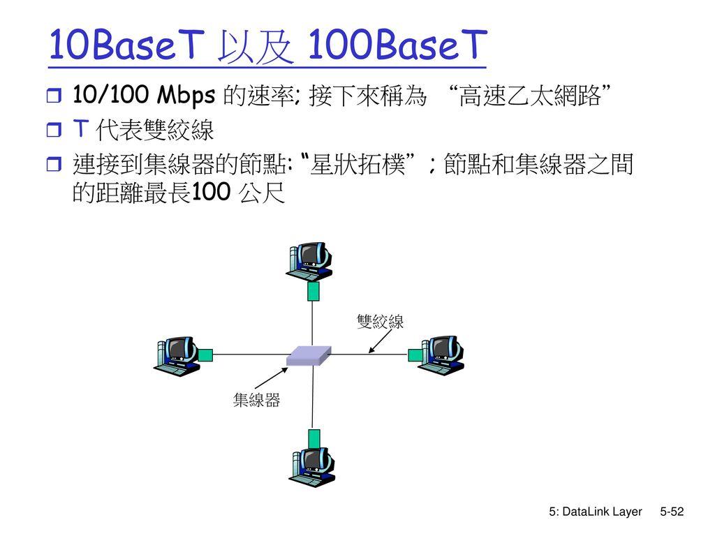 10BaseT 以及 100BaseT 10/100 Mbps 的速率; 接下來稱為 高速乙太網路 T 代表雙絞線