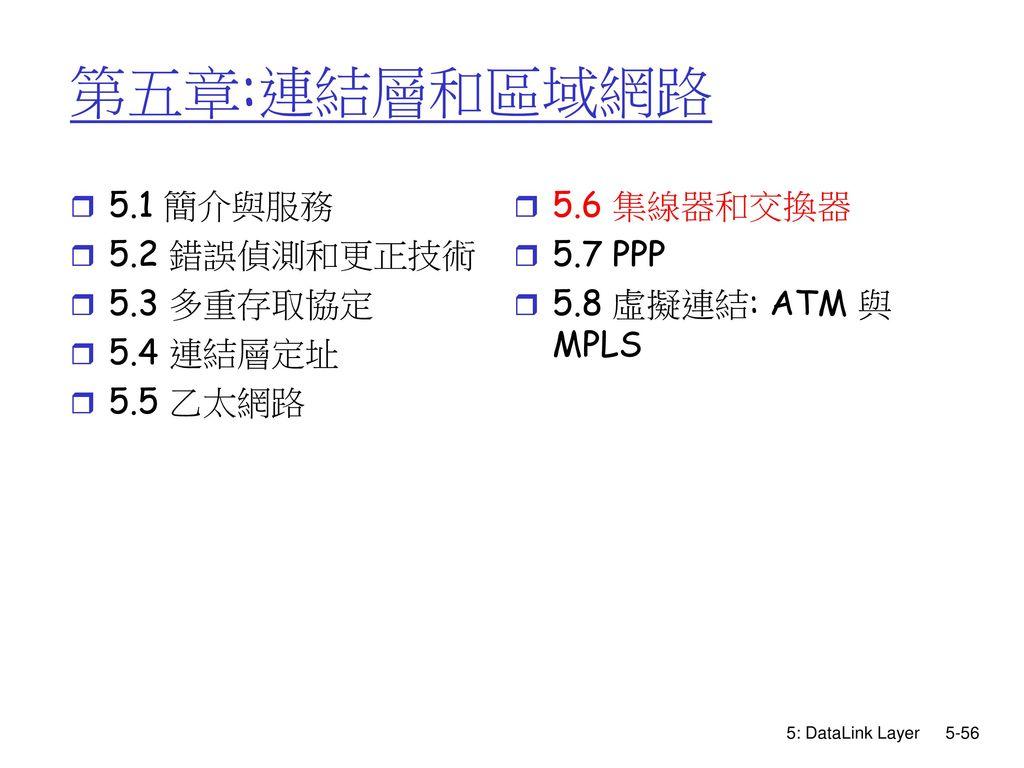第五章:連結層和區域網路 5.1 簡介與服務 5.2 錯誤偵測和更正技術 5.3 多重存取協定 5.4 連結層定址 5.5 乙太網路