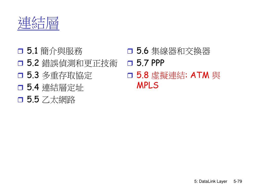 連結層 5.1 簡介與服務 5.2 錯誤偵測和更正技術 5.3 多重存取協定 5.4 連結層定址 5.5 乙太網路 5.6 集線器和交換器