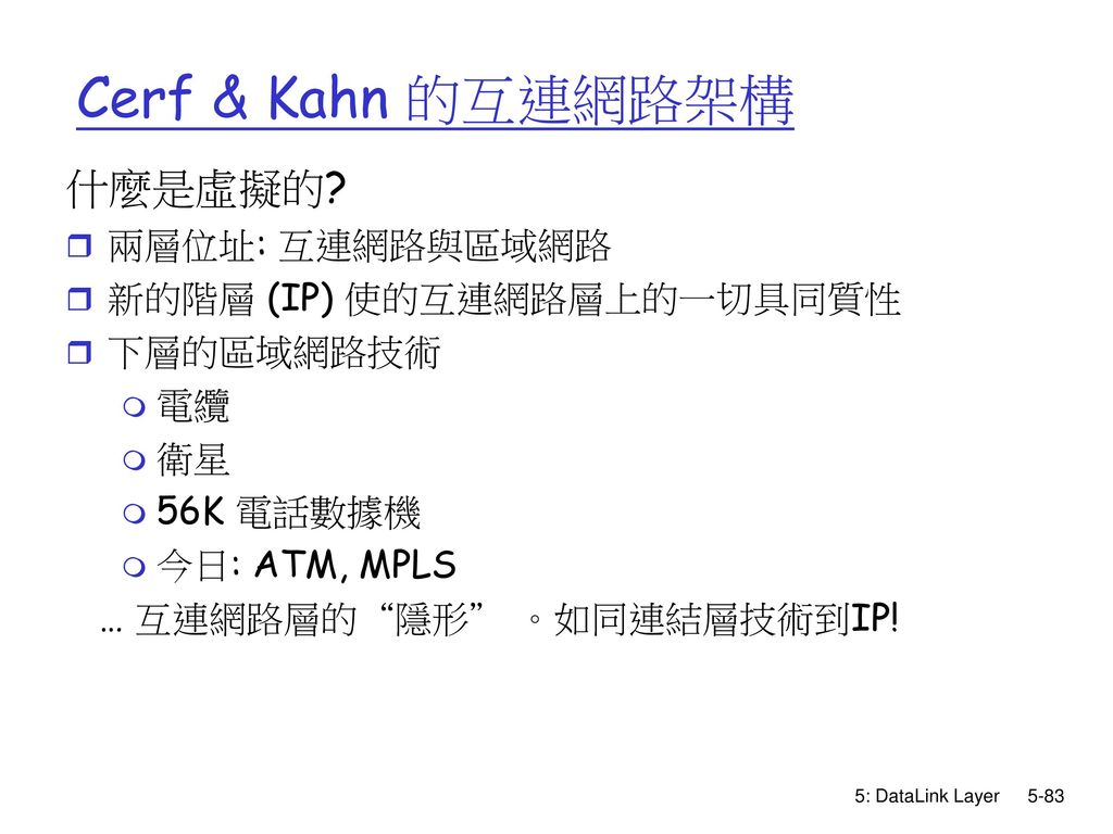 Cerf & Kahn 的互連網路架構 什麼是虛擬的 兩層位址: 互連網路與區域網路 新的階層 (IP) 使的互連網路層上的一切具同質性